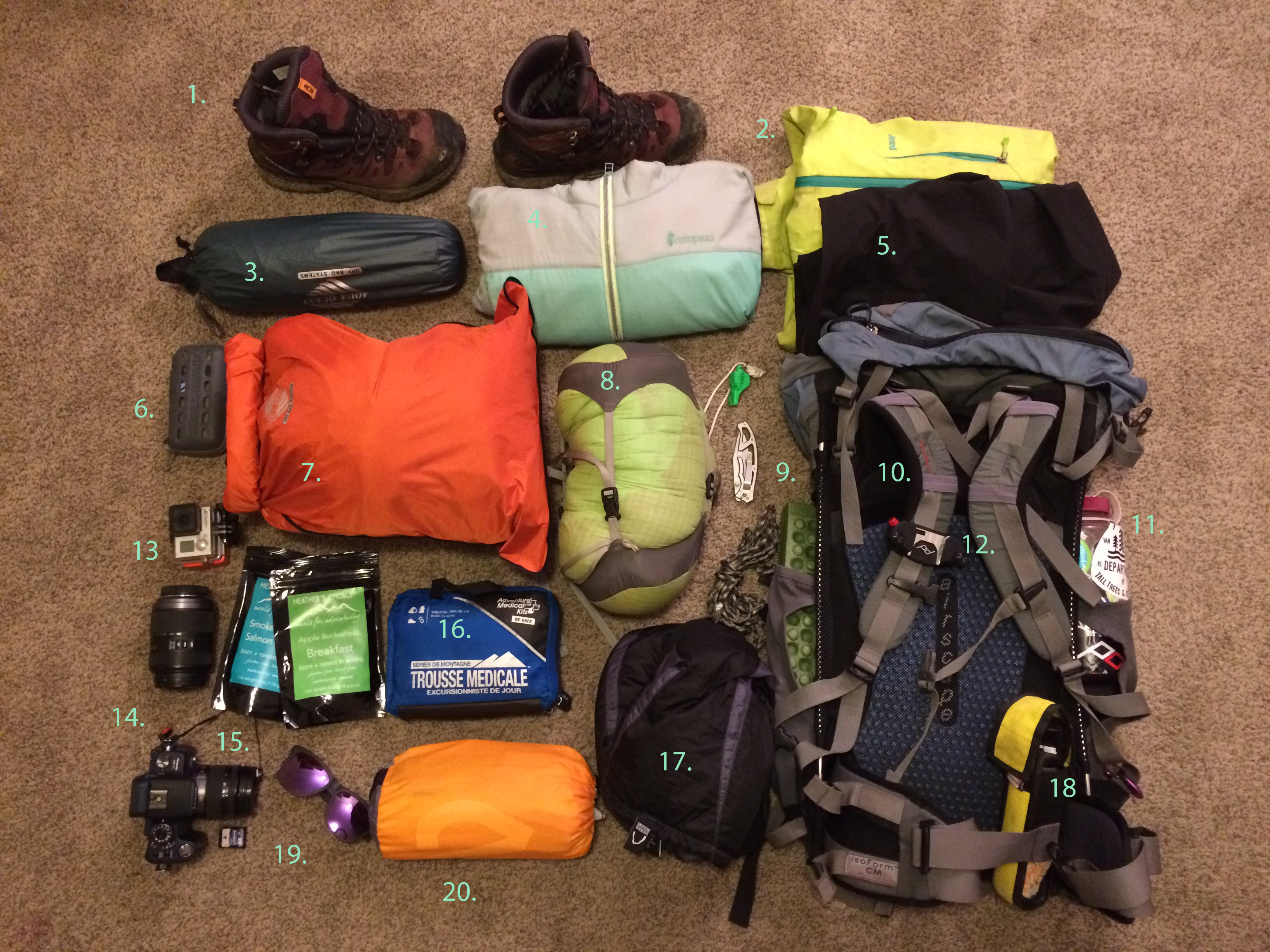 Backpacking: Bag Dump | Kayleen VanderRee
